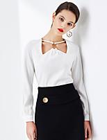 Chemisier Femme,Couleur Pleine Sortie Vintage / simple Printemps / Eté Manches Longues Col Carré Blanc / Noir Polyester Opaque