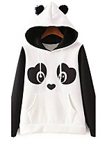 Women's Casual/Daily Cute Regular Hoodies,Animal Print White Round Neck Long Sleeve Cotton Fall / Winter Medium Micro-elastic