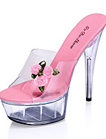Women's Sandals Summer Platform PVC Casual Stiletto Heel Platform Flower Pink Red Fuchsia Other