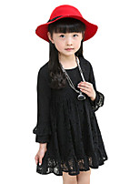 Girl's Casual/Daily Solid Dress,Cotton Spring / Fall Black / Pink / Red