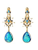 European Luxury Gem Geometric Earrrings Vintage Rococo Drop Earrings for Women Fashion Jewelry Best Gift