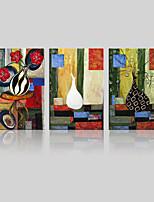 Холст Set / Unframed Холст печати Пейзаж / Цветочные мотивы/ботанический Классика / Modern,3 панели Холст Вертикальная Печать Искусство