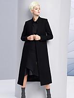 Женский На выход / На каждый день Однотонный Пальто V-образный вырез,Простое Зима Черный Длинный рукав,Шерсть / Полиэстер,Толстая
