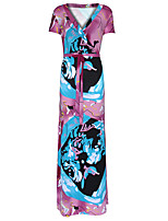 Women's Plus Size Boho Loose DressPrint V Neck Maxi Short Sleeve Pink Polyester Spring / Fall High Rise Stretchy Medium