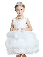 Girl's Formal / Party/Cocktail Solid Dress Polyester Pearl Bow  Petal The Princess Dress