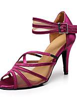 Customizable Women's Ballroom Dance Shoes Satin Latin / Salsa Sandals Customized Heel Beginner / Professional / Indoor