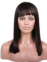 Naomi Campbelle Inspired Brazilian Human Hair Yaki Straight Bob with Bang Wigs Glueless Lace Front Wigs For African American Women
