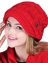 Women Casual Outdoor skiing Solid color protection ear wool Twist knit button decoration hedging cap
