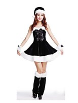 Christmas Costume /Holiday Halloween Costumes White & Black Solid Skirt / Garter / Hats Christmas Female Pleuche