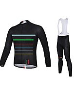 Stripe Cycling Jersey with Bib Tights Men's Long Sleeve Bike Breathable / Quick Dry / Anatomic Design / Front Zipper / 3D PadClothing