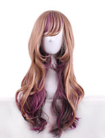 Pastel Brown Color with Purple Natural Wigs Anime Lolita Fashion Body Wave Lovely Cosplay Wigs