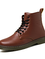 Men's Boots Spring / Fall Comfort PU / Microfibre Outdoor / Casual Flat Heel Lace-up Black / Brown / Red Walking