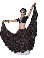 Belly Dance Bottoms Performance Cotton Draped Pattern/Print 1 Piece Dropped Skirt