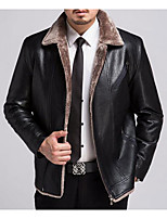 Men's Plus Size / Casual/Daily Simple Leather Jackets,Solid Long Sleeve Black / Brown / Green Lambskin