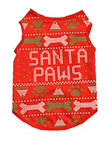 Cat Dog Vest Dog Clothes Summer Spring/Fall Bone Cute Christmas Red