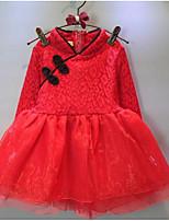 Menina de Vestido,Happy-Hour Cor Única Algodão Primavera / Outono Vermelho