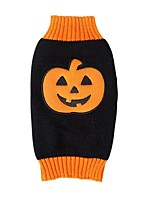 Cute Winter and Autumn Holloween Pumpkin Orange and Black Color Orlon Dog Sweater Dog Clothes