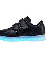 LED Light Up Shoes,Boy's Sneakers Spring / Fall Comfort PU Casual Flat Heel Magic Tape Black / White / Silver Sneaker