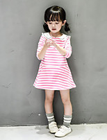 Girl's Casual/Daily Striped Dress / Overall & JumpsuitCotton Blue / Pink
