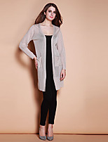 XuanFeiLu Women's V Neck Long Sleeve Sweater & Cardigan Black / Gray-H-805