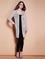 XuanFeiLu® Женский V-образный вырез Длинные Свитер и джемпер черный увядает / серый-H-805