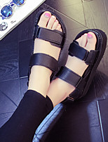 Women's Sandals Summer Comfort PU Casual Flat Heel Magic Tape Black White Others