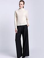 De las mujeres Pantalones Perneras anchas-Simple Rígido-Lana / Poliéster / Licra