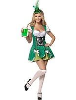 Cosplay Costumes Oktoberfest/Beer Movie Cosplay Green Solid Dress / Hat Oktoberfest Female Polyester