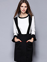 Women's Casual/Daily Simple Fall Set Skirt Suits,Solid Round Neck Long Sleeve White Others Medium