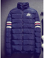 Men's Regular Padded Coat,Simple Casual/Daily Solid-Cotton Cotton Long Sleeve Blue