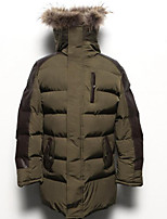 Men's Padded Coat,Simple Casual/Daily Solid-Polyester Polyester Long Sleeve Hooded Black / Green