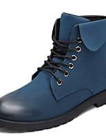 Femme-Extérieure Décontracté-Noir Bleu Marron-Talon Plat-Confort-Bottes-Cuir