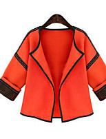 Women's Casual/Daily Simple Jackets,Solid ¾ Sleeve Fall / Winter Orange Cotton Medium