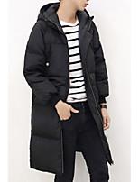 Пальто Простое / Очаровательный / Уличный стиль Длинная Пуховик Мужчины,Однотонный Праздник / На каждый день / Нарядная ПолиэстерПух