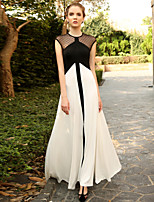 MASKED QUEEN  Women's Going out Vintage Swing DressPolka Dot / Color Block Round Neck Maxi Sleeveless White Modal