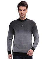 Herren Standard Pullover-Lässig/Alltäglich Einfach Solide Grau Ständer Langarm Wolle / Bambusfaser / Acryl Winter Mittel Dehnbar