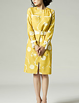 Chocolatone Women's Casual/Daily Chinoiserie Tunic DressFloral Round Neck Knee-length Long Sleeve Yellow Polyester