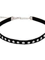 Punk Gothic Jewelry Basic Black Velet with Golden Metal Studs Tattoo Choker Necklace