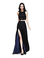 2017 לנטינג מהרצפה אורך תחרה bride® שתי חתיכות / תכשיט שמלת השושבינה furcal עם כפתורים