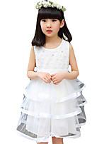 Vestido Chica de-Casual/Diario-Un Color-Poliéster-Verano-Rosa / Morado / Blanco