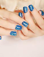 24pcs / набор для ногтей полосы кратко параграф синий блестки моды сексуальные