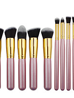 10 Makeup Brushes Set Synthetic Hair Professional / Portable Wood Face / Eye
