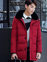 Men's Long Down Coat,Simple Casual/Daily Solid-Polyester White Duck Down Long Sleeve Hooded Red