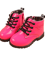 Girl's Boots Winter Comfort PU Outdoor / Casual Flat Heel Lace-up Black / Yellow / Red Walking
