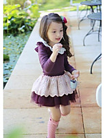 Girl's Casual/Daily Patchwork DressCotton Spring / Fall Purple