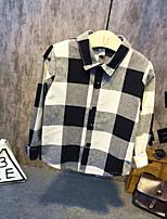 Menino de Camisa,Casual Quadriculada Algodão Primavera / Outono Preto
