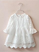 Girl's Casual/Daily Floral Dress / Overall & JumpsuitCotton Spring / Fall White
