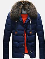 Пальто Простое Обычная Пуховик Мужчины,Однотонный На каждый день Полиэстер Пух белой утки,Длинный рукав Воротник-стойка Синий / Оранжевый
