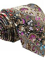 Men's Necktie Tie For Men Gray 100% Silk Jacquard Woven Business Dress Casual Wedding