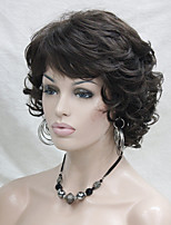 New Wavy Curly Chestnut Brown 6# Short Synthetic Hair Full Women's  Wig For Everyday